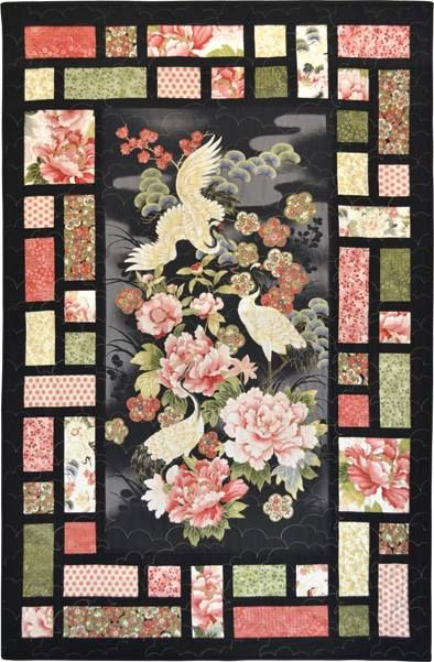 Asian quilting fabric panels phrase and