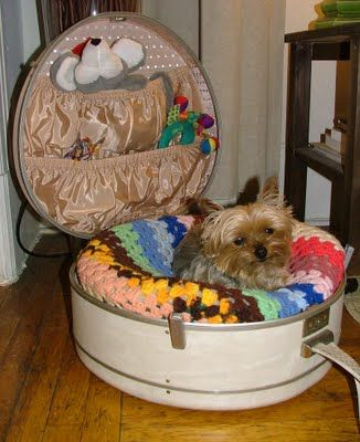 """Any old suitcase or """"Hat Boxes"""" are perfect for this, depending on the size of your Pet will determine how big it needs to be! And the pockets are great for storing all your pets """"accessories"""""""