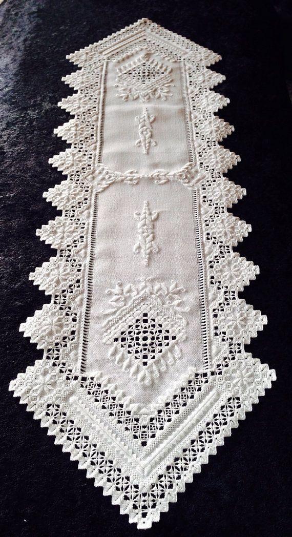 Hardanger Table Runner White on White by norwegianneedle on Etsy