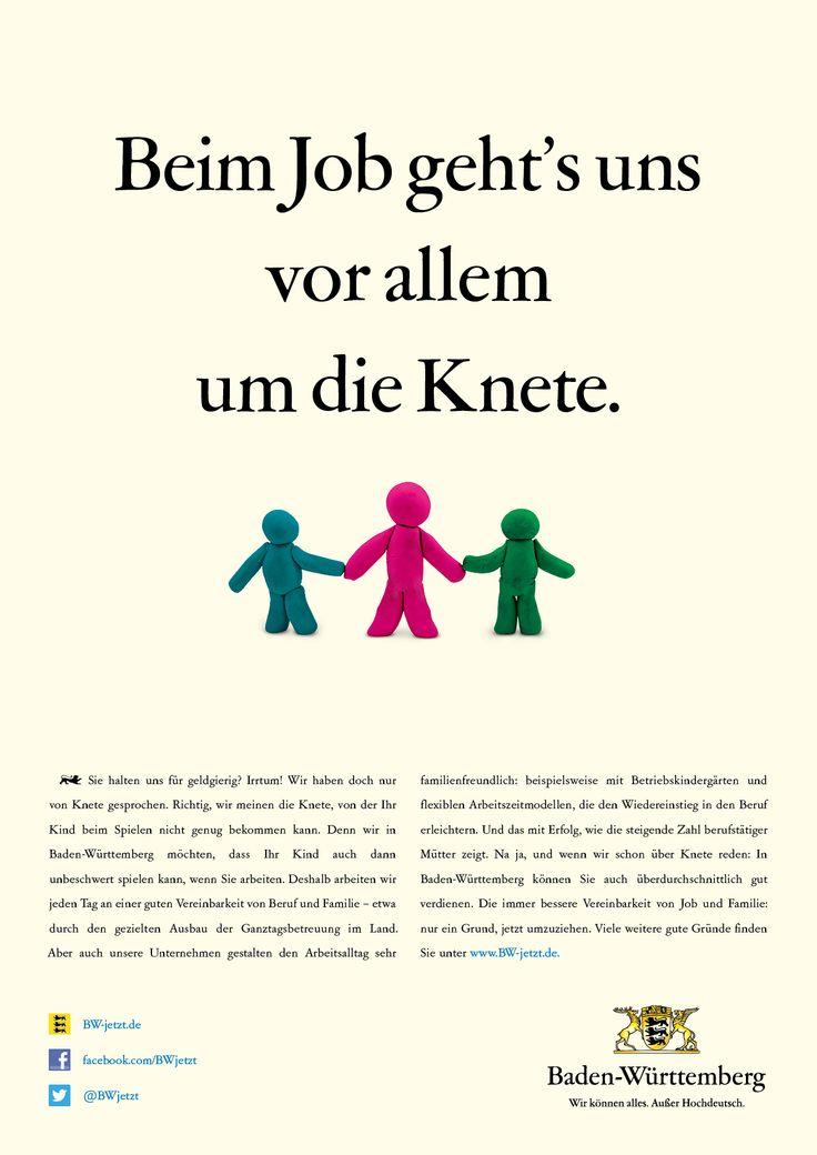 Du hältst uns für geldgierig? Irrtum! Wir haben doch nur von Knete gesprochen. Denn wir in Baden-Württemberg möchten, dass dein Kind auch dann unbeschwert spielen kann, wenn du arbeitest. Die immer bessere Vereinbarkeit von Job und Familie: nur ein Grund, jetzt umzuziehen.