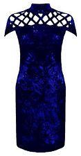 Women Ladies Sleeveless Bodycon Velvet Crushed Velour Laser Cut Mini Dress