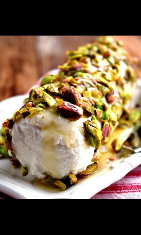 PISTACHIO GOAT CHEESE APPETIZER. Treat your taste buds with this amazing appetizer that has its nutritional load in pistachios. ... Nutritional facts :- ... Pistachios contain fewer calories and more potassium and vitamin K per serving than other nuts. A 1-ounce serving of dry-roasted pistachios contains 160 calories, 6 grams of protein, 3 grams of fiber and 15 grams of fat, including only 2 grams of saturated fat.