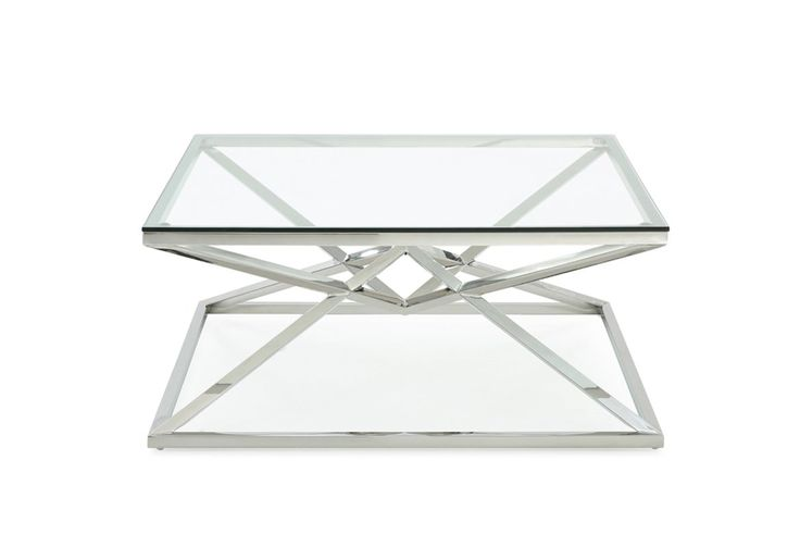 "Modrest Xander Modern Square Glass Coffee Table. The Modrest Xander Modern Square Glass Coffee Table is a peerless product of stylish design featuring a 10mm square clear tempered glass top. Bringing an inimitable appeal, it features a sleek polished pyramid-shaped stainless steel base, where the other pyramid was upturned allowing their tip to meet. With a dimension of W39"" x D39"" x H18"", this modern coffee table provides your living space grace and class. Dimensions  W39"" x D39"" x H18""…"