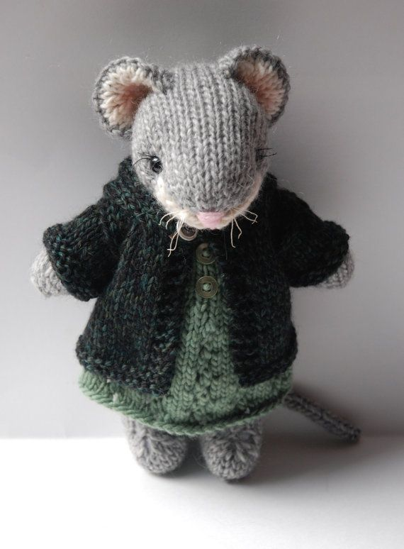 Knitted Woodland Mouse Toy in Autumn Dress and Tweed Hoodie Sweater