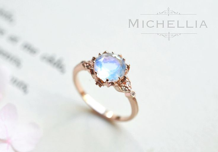Vintage Moonstone Floral Engagement Ring in 14k or 18K Solid Gold, Art Nouveau Moonstone Laurel Leaf Ring, Blue Moonstone, Rose White Gold by MichelliaDesigns on Etsy https://www.etsy.com/listing/271462090/vintage-moonstone-floral-engagement-ring