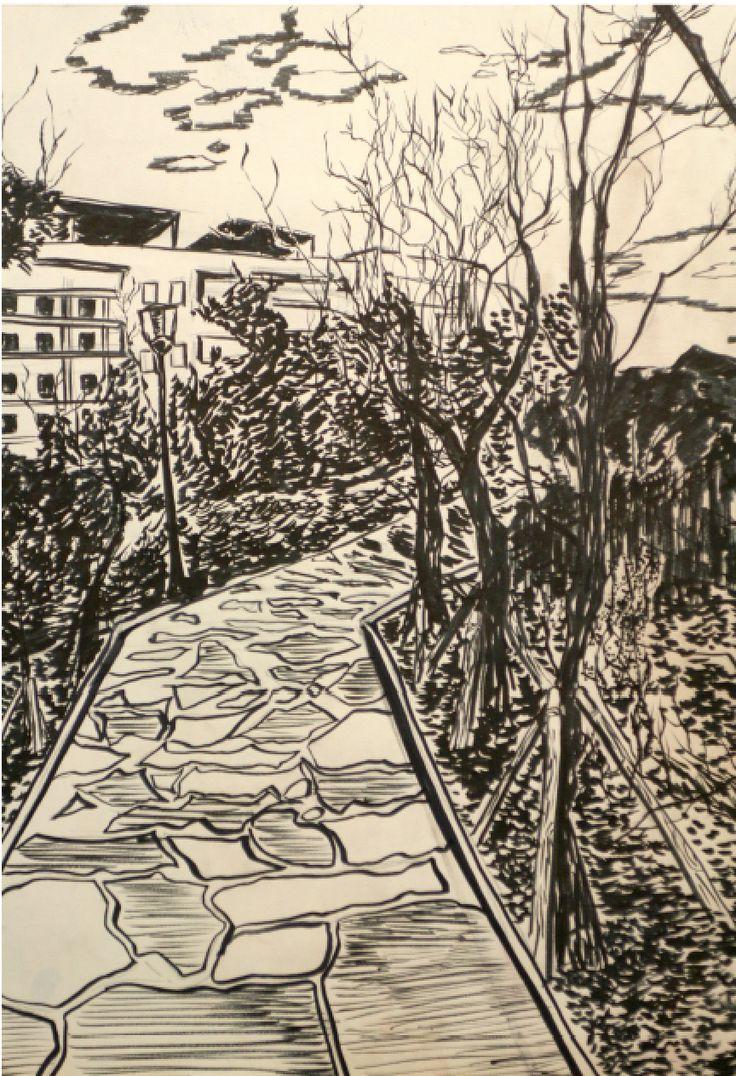 Road to home :) Pen, drawing, artworks , portfolio, road