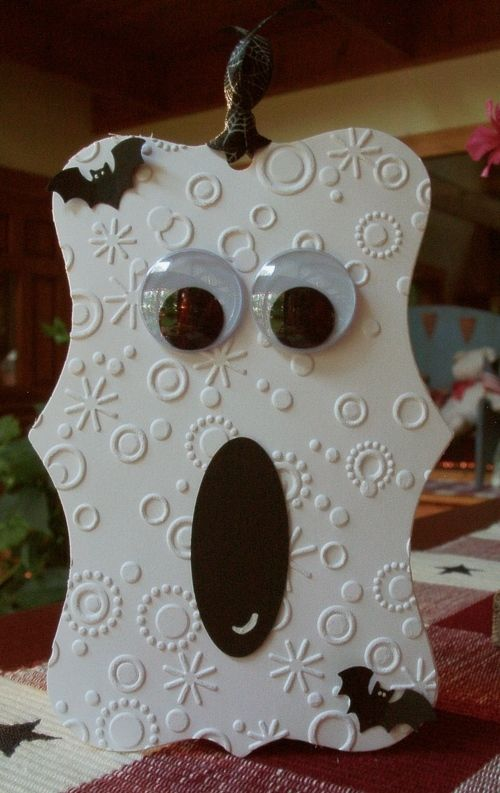 What a fun Ghost made using a die cut and embossing folder.  Definitely have to give this a try.