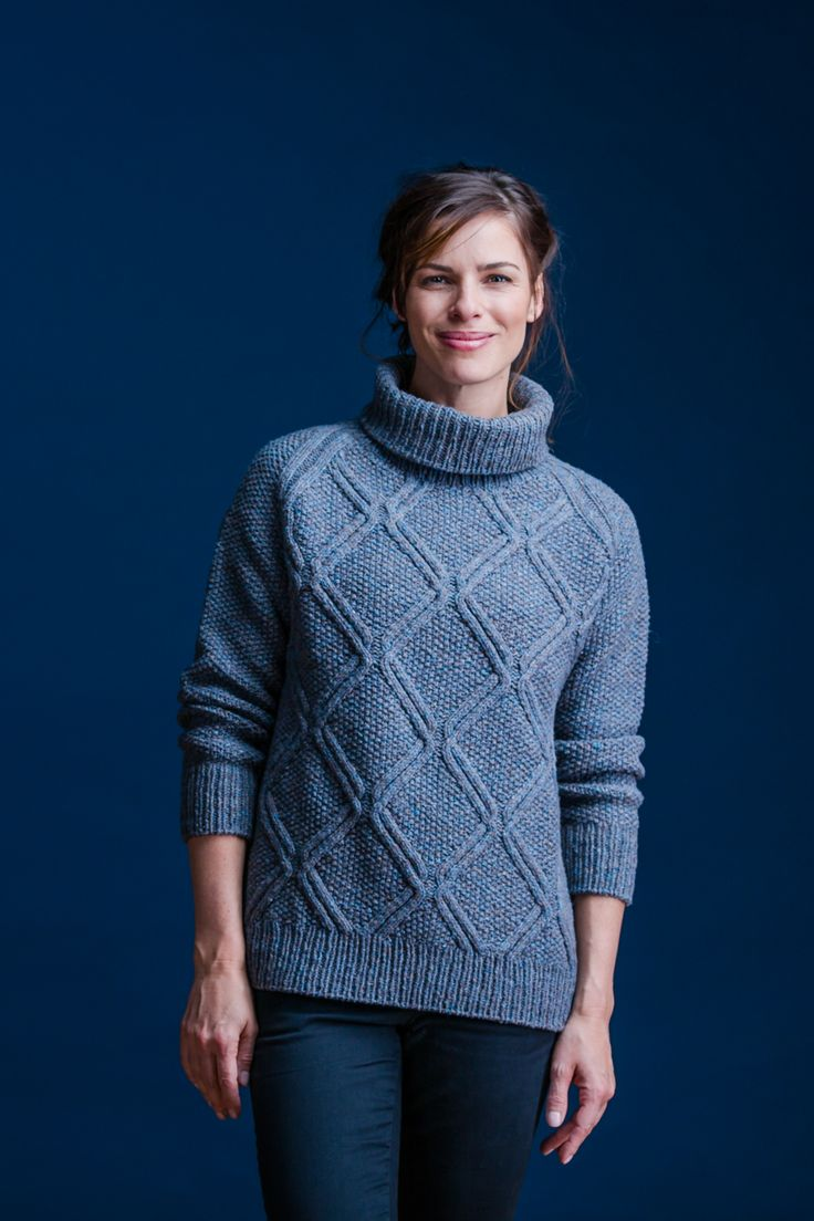 "Get ready for fall with a mulled blend of closely related hues: two strands of Loft held together allow you to create your own custom color for this pullover. With A-line shaping and 6-8"" of ease, Carver is perfect for casual weekend wear, but its crisp patterning of twinned diamond cables on a ground of seed stitch …"
