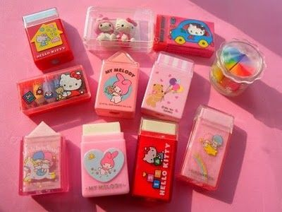 Sanrio erasers in plastic cases. Yes. -- though this is my EVERY FUCKING DAY OF MY ADULT LIFE (EXCEPT EVEN CUTER) so much of my childhood was spent lusting after these. i remember my teen best friend showed me the asian store in the mall (.. though we lived near the asian district and never put two and two together lol) and i was so impressed with her lol