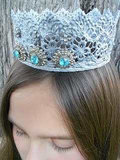 Everyone can be a Queen for the Day - a tutorial for making lace crowns using the microwave - from http://www.rookno17.com/2012/02/lace-crowns-quick-microwave-method.html