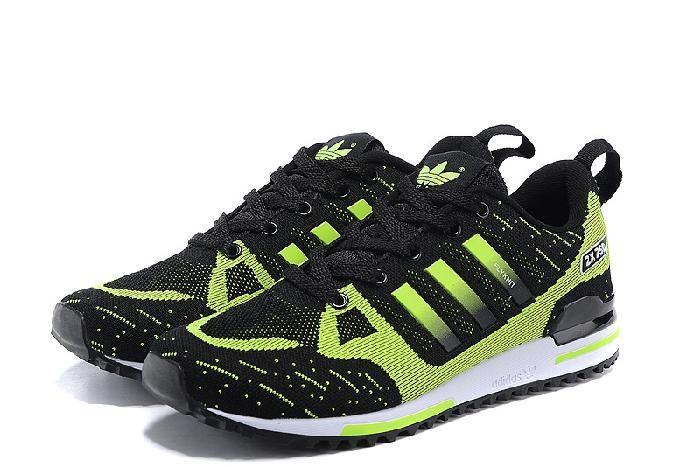 Hot Adidas Original Zx 750 Flyknit Fluorescent Grønn Svart for Herre Sko og New Adidas Zx 700 Kvinner Online til salgs