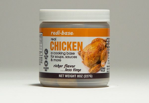 Redi-Base Gluten Free Chicken Base creates a traditional chicken stock for soups, sauces, gravies, and enhances pasta or rice dishes. A golden yellow paste base or seasoning containing natural ingredients including USDA inspected cooked chicken meat and fat. Laboratory tested to be Gluten Free (less than 20 ppm gliadin). Cooked chicken meat as the first ingredient, this base dissolves in water or other liquids for a quick and easy preparation. Available in 8 oz. single jars and 12/8 oz…