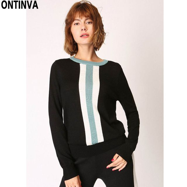 Blue Black Striped O Neck Sweater Office Lady Jumper Fashion Patchwork Pullovers Tops 2017 Women Long Sleeve Knitted Workwear #ONTINVA #sweaters #women_clothing #stylish_sweater #style #fashion