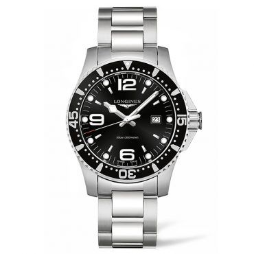 L38404566 Ανδρικό quartz ρολόι LONGINES HydroConquest με ατσάλινο μπρασελέ, μαύρο καντράν στεφάνη και ημερομηνία | Ρολόγια ΤΣΑΛΔΑΡΗΣ στο Χαλάνδρι #hydroconquest #ημερομηνια #longines #ρολόι