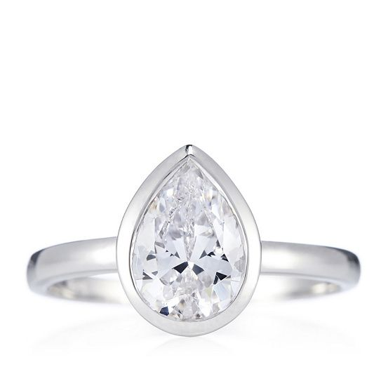 Diamonique 2ct tw Pear Cut Bezel Solitaire Ring Sterling Silver order online at QVCUK.com
