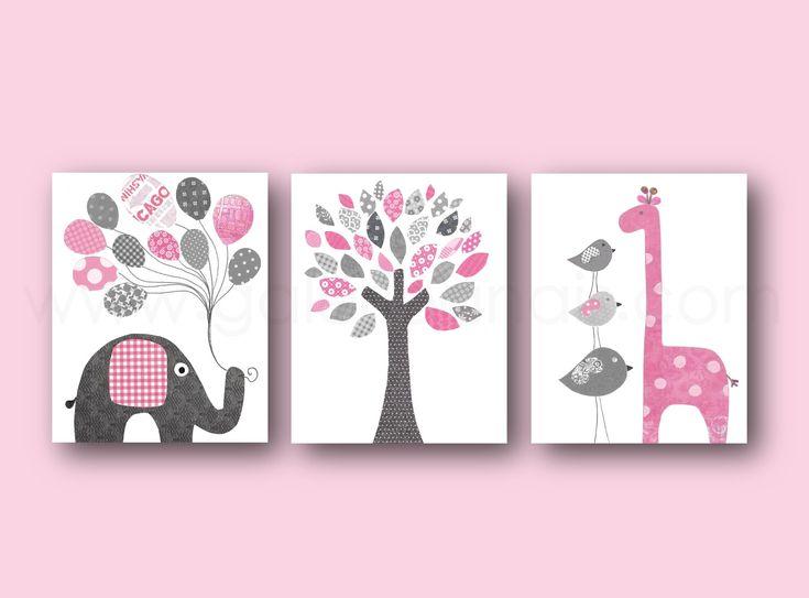 Lot de 3 illustrations 30x40cm pour chambre d'enfant et bebe, art decor , rose et gris art
