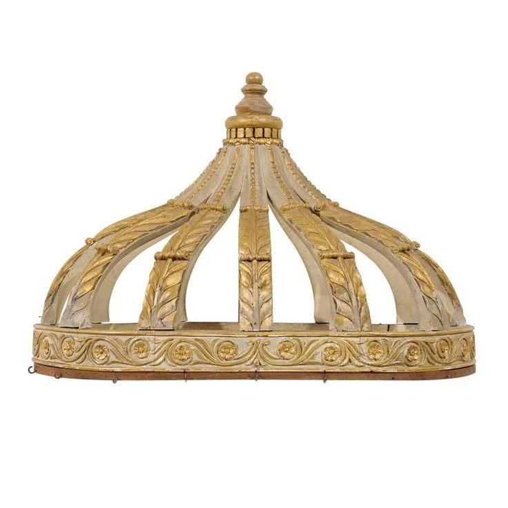Italian Bed Corona or Bed Crown with Gilt Accents and Carved Rinceaux Frieze 1