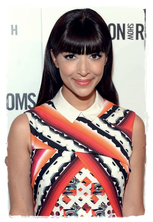Celebrity Inspired #Hairstyles - Hannah Simone Front-and-Center Bang