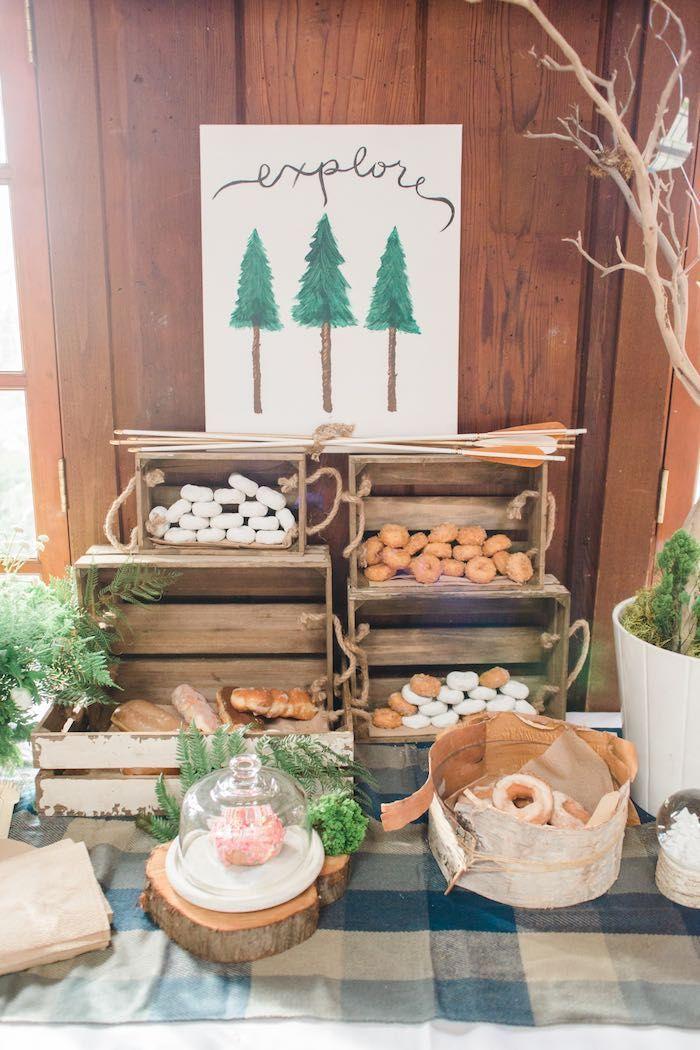 Doughnut + Sweet Table from a Rustic Camping Birthday Party via Kara's Party Ideas | KarasPartyIdeas.com (33)