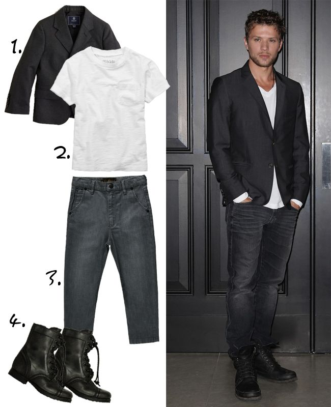 The perfect little Ryan Phillippe look a like outfit for a stylish little kid. Your little boy can dress just like a mini celebrity.