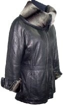 5008 PREMIUM Grade Real Genuine Black Soft Supple Light Lambskin Leather Car Half Coat Parka Big Faux Fur Collar Bendable to Stand Up Zipper Placket Front Closure Welt Pocket, Lined, ZIP OUT FAKE FUR VELOUR LINER, Petite Regular Plus Size