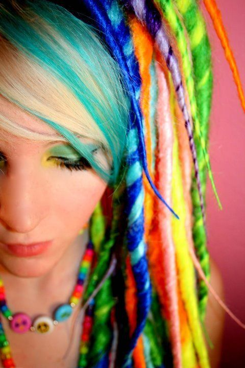 Color your world!: Color Hairs, Dreadlocks, Rainbows Hairs, Rainbows Dreadful, Hairs Styles, Hairs Color, Funky Hairs, Braids Hairs, Wool Dreadful