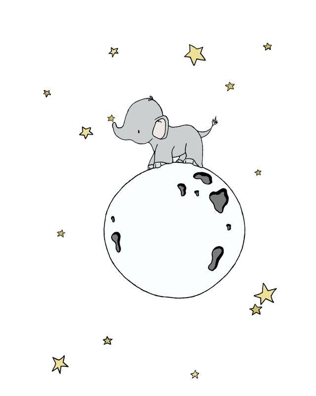 SET OF 3 — Elephants And Moons — Elephant Nursery Art