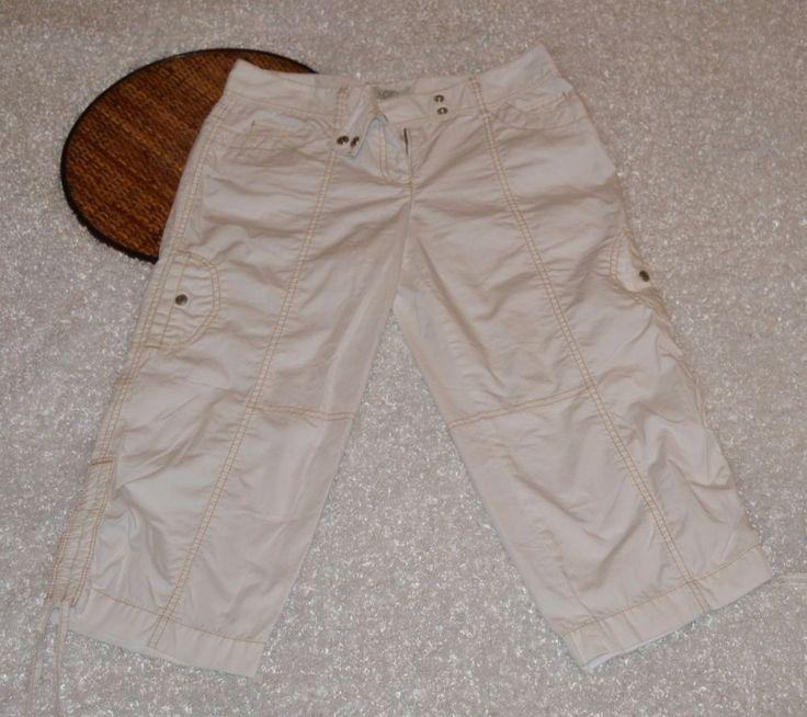 Ann Taylor LOFT Marisa Cropped Capri White Pants Side Ties Tan Stitching Size 2 #AnnTaylorLOFT #CaprisCropped