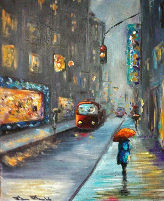 tableau peinture paysage urbain