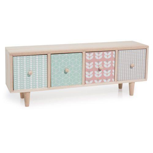 Boîte 4 tiroirs en bois multicolore ...