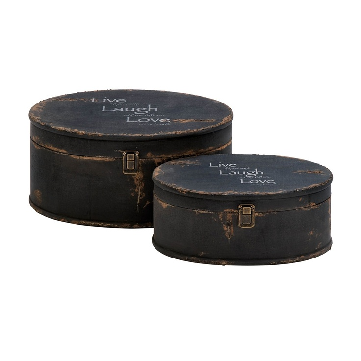 Rustic round storage boxes stamped with 'Live, Laugh, Love'.
