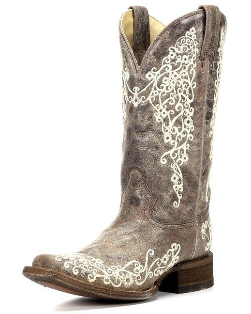 Corral Women's Crater Bone Embroidery Square Toe Boot - Brown Size 9