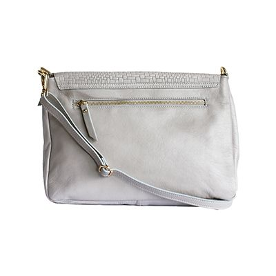 Cora Italian Light Grey Leather Cross Body Satchel Bag - £64.99