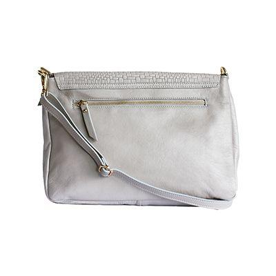 Cora Italian Light Grey Leather Cross Body Satchel Bag - £64.99