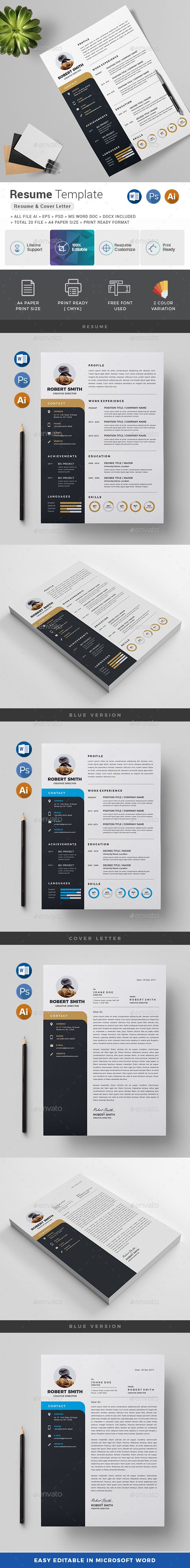 Resume  Features of Resume Template      Color Versions     A4 Paper Size With Bleeds     Quick and easy to customize templates     Change Customize easily in MS WORD, PSD & Illustrator     Professional and clean structured files
