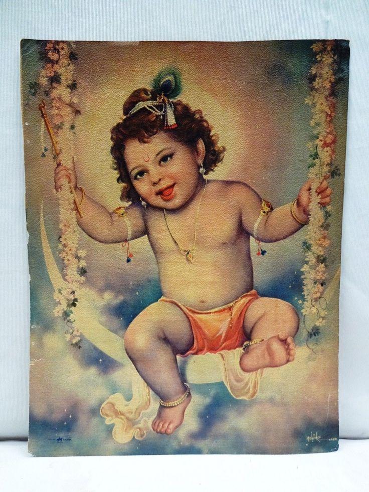Old Lord Bal Krishna on Moon Swing Vintage Lithograph Print beautiful Genuine