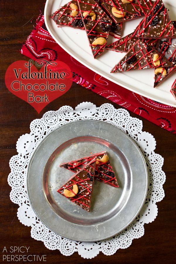 Easy Chocolate Bark Recipe for #ValentinesDay! via ASpicyPerspective.com #ediblegifts #chocolatebark