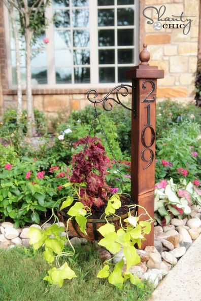 """DIY:: Super Simple And """"Low Low Cost"""" Address Numbers Post & Planter !"""