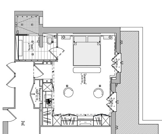 Chambre parentale plan maison pinterest for Suite parentale 15m2