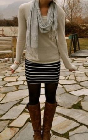 dress with sweater, leggings and boots. Neutral tones, one standout pattern, and comfortable accessories.