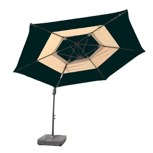 Atleisure Offset 2tone Umbrella With Base 10feet Hunter Green And Tan Review