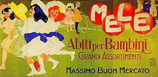 Mele, abiti per bambini, grandi assortimenti Massimo buon mercato - Marcello Dudovich