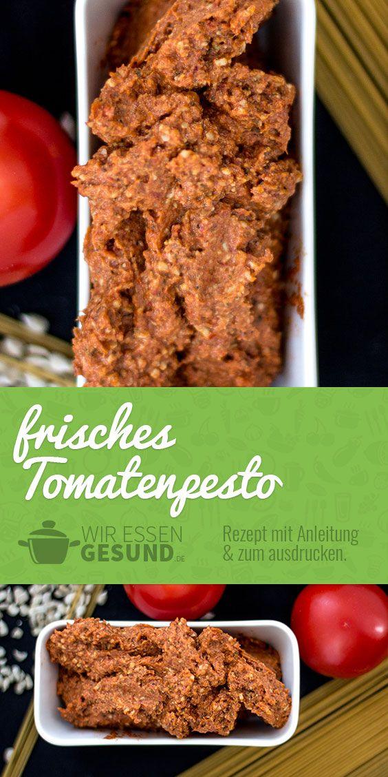 Frisches Tomatenpesto (Rezept) | Hab bisher noch kein besseres Tomatenpesto gegessen! Hier geht's zum Rezept: http://www.wir-essen-gesund.de/das-frischeste-tomatenpesto-ever-rezept/ #vegan #pesto #rezept #tomaten