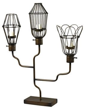 Sterling Industries 51-10083 Iron Caged Bulb Candle Holder contemporary-candleholders  how about with light bulbs??