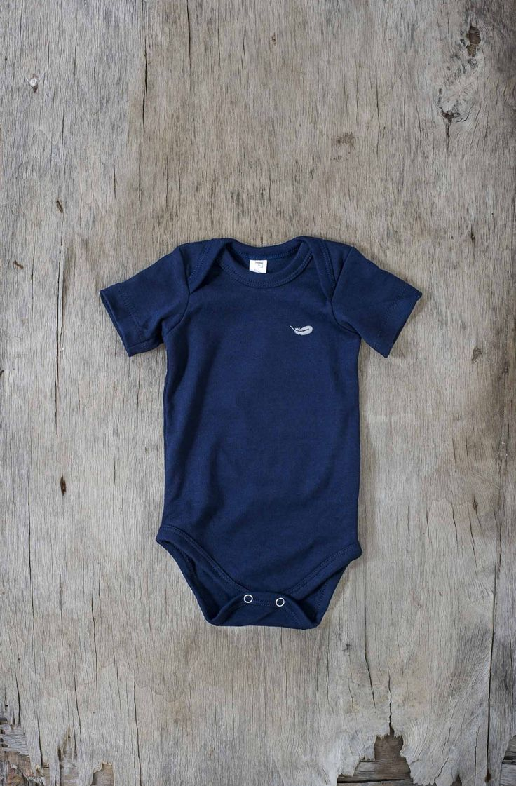 Fable Babywear Vest Collection - Navy Vest with Grey Feather Embroidery. Made with 100% cotton.  Browse our collections at http://fablebabywear.com/