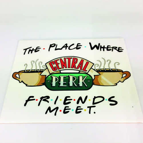 White Ceramic Tile Coaster, perfect for any fan of the hit TV show Friends – Featuring Central Perk Logo with A Place Where F.R.I.E.N.D.S Meet  Printed at Uveeka's HQ Full colour high quality printing Scratch Resistant, Shower Proof Size – 100 x 100mm High Quality Ceramic Used Gloss Finish