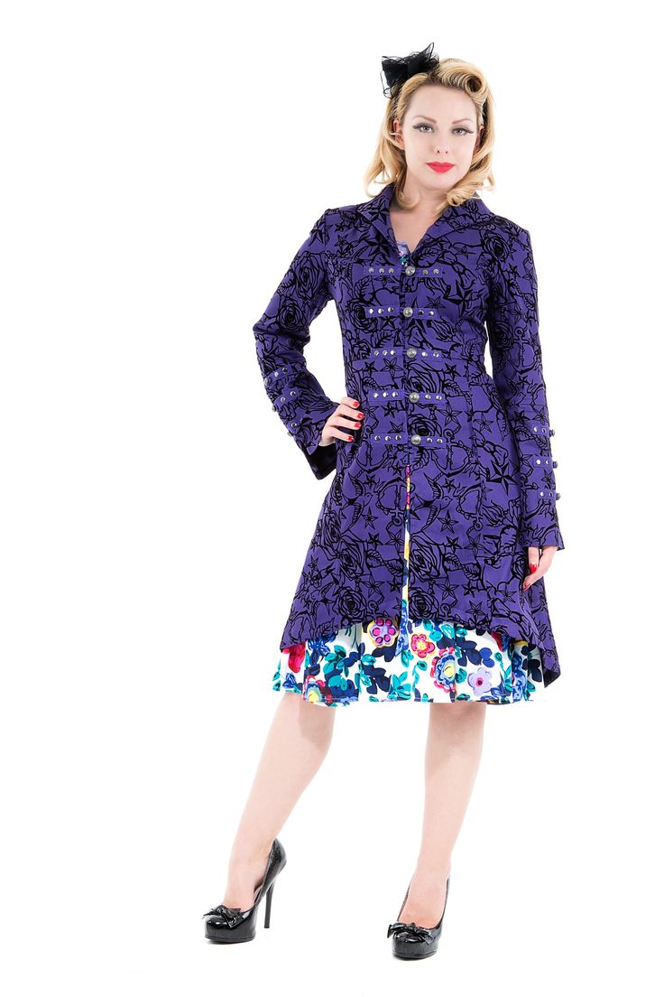 Purple Passion Coat by H&R London | $112 at OtherWorld Fashion.  #rockabilly  #pinup