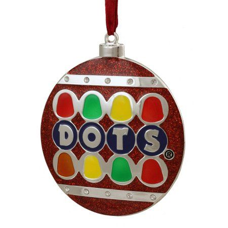 3.5 inch Silver Plated Dots Candy Logo Christmas Ornament with European Crystals