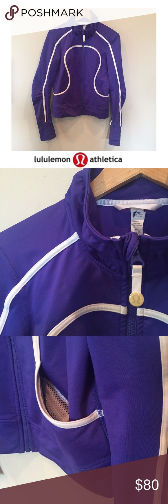 Lululemon Purple & White Zip Up Warm Up Jacket Lululemon Purple & White Zip Up Athletic Jacket. Thumb holes. 18.75 inch bust. 24 inches long. Gently worn. Great condition. No flaws or stains. Feel free to make an offer or bundle & save. lululemon athletica Jackets & Coats