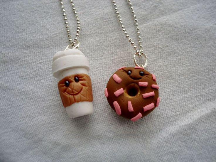 Coffe & Donut Best Friends Necklaces by ArtbyAshLigon on Etsy